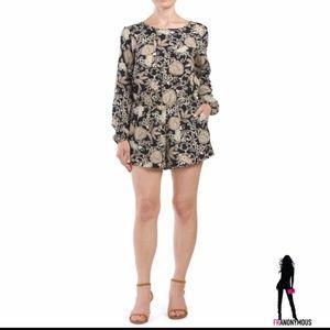 Pants - Long Sleeve Floral Romper